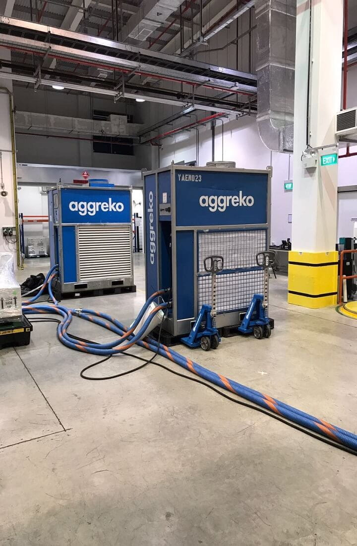 Aggreko Temporary Cooling & Humidity Control for Warehouse