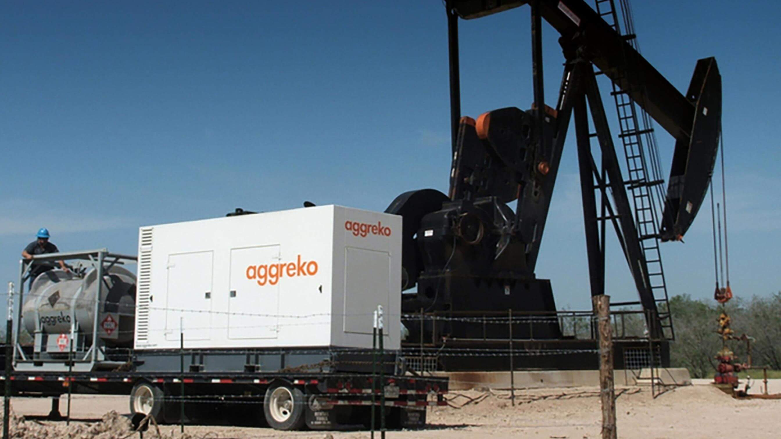 Aggreko generator at an oil well