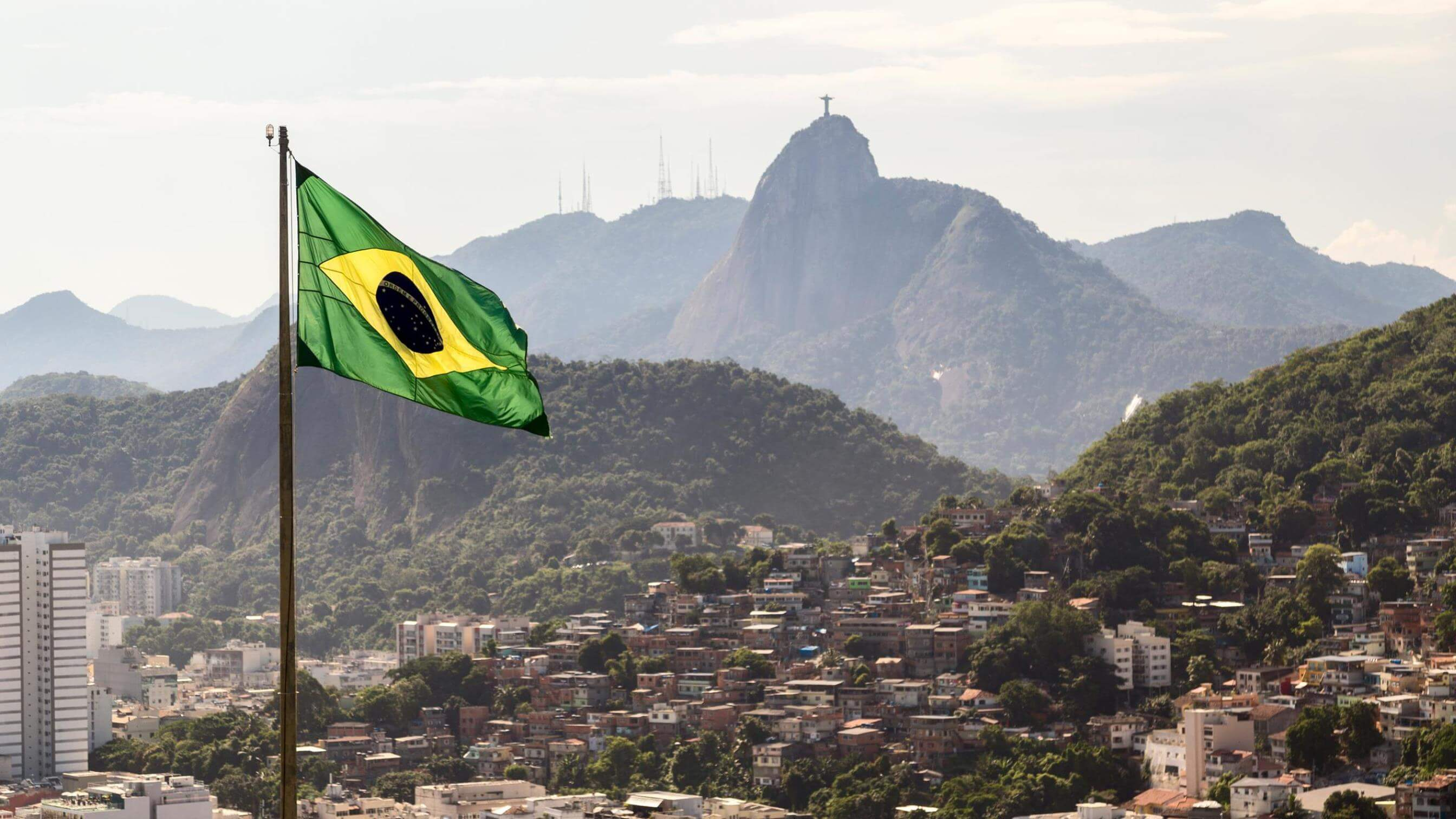 View across Rio showing the Brazilian flag