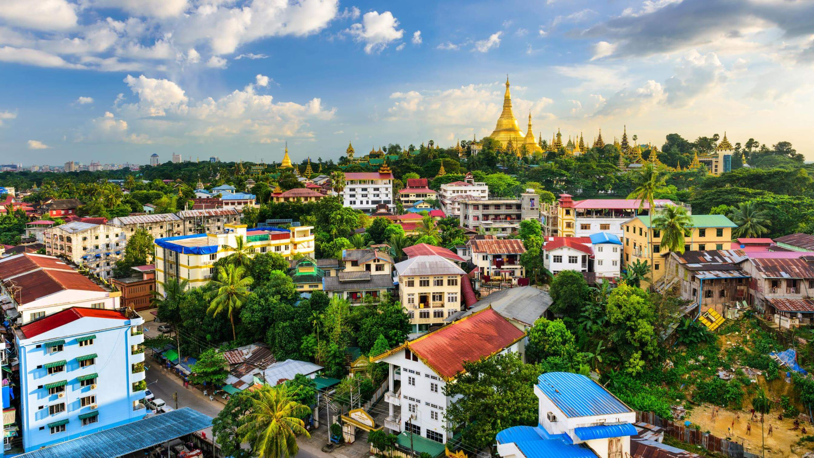 View across rooftops in Myanmar