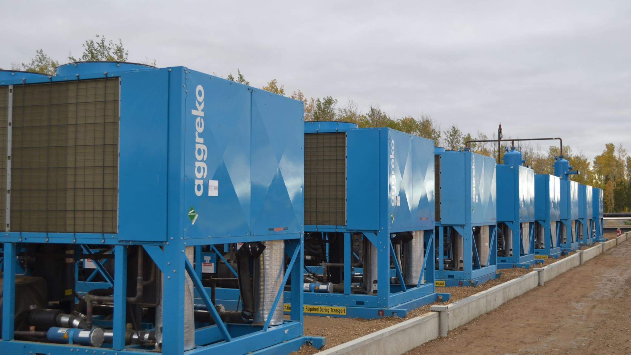 Row of Aggreko chillers outside