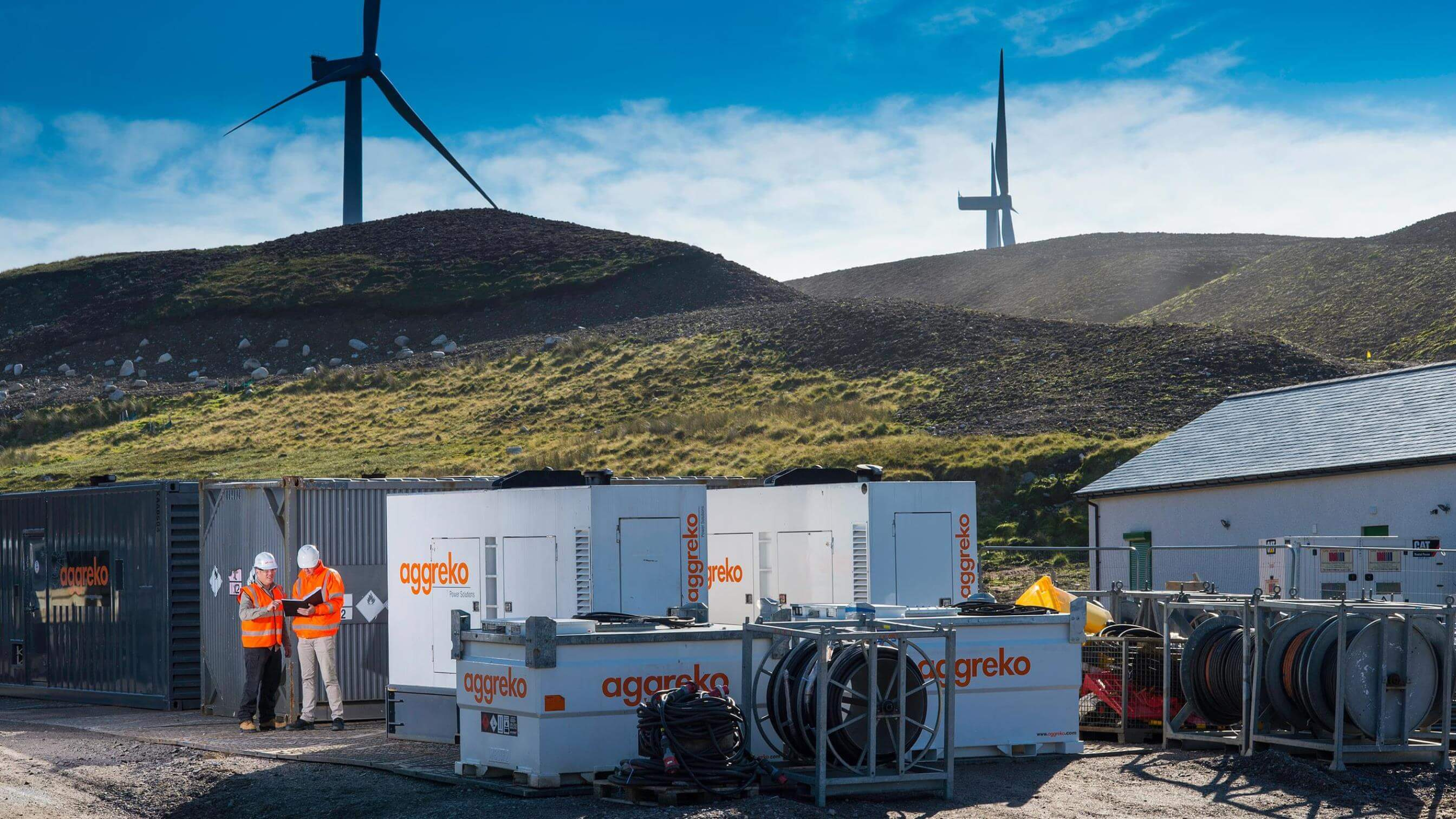 Aggreko equipment at a Scotland windfarm