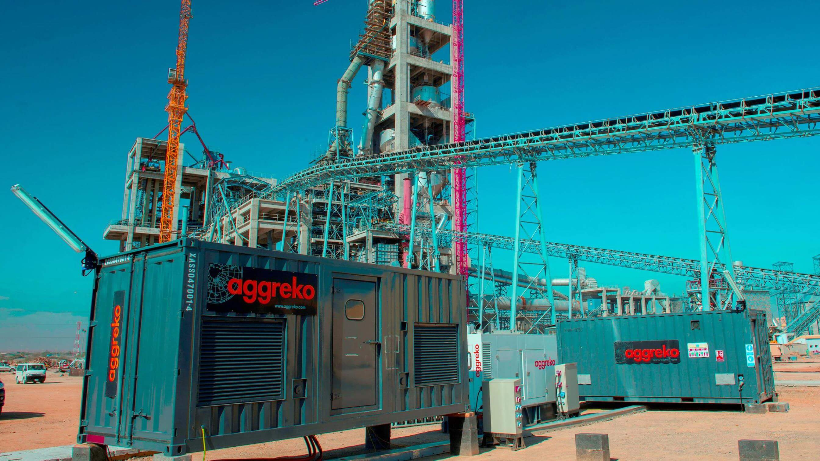 Aggreko generators at a cement production plant