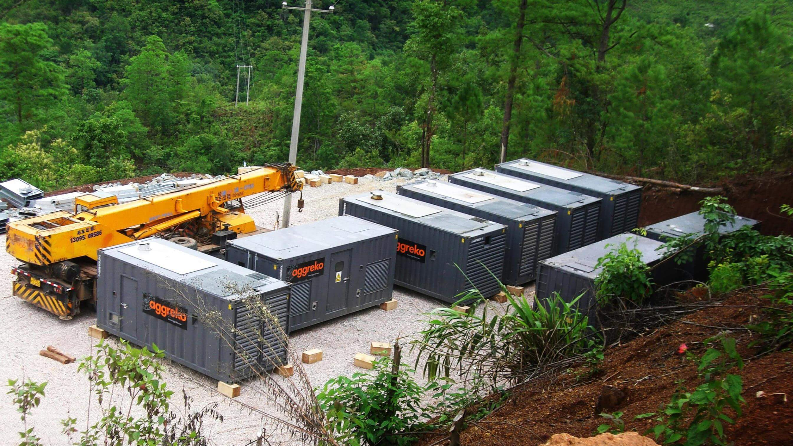 Aggreko generators in forest at the Yunnan mine in China