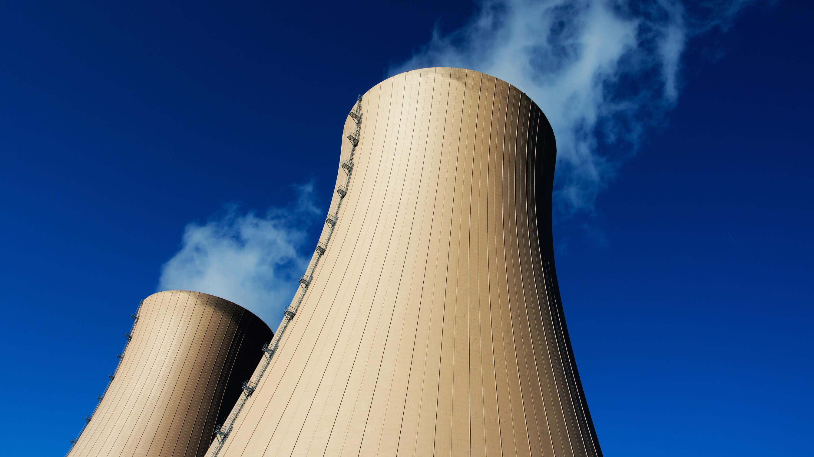Two cooling towers at a nuclear power plant
