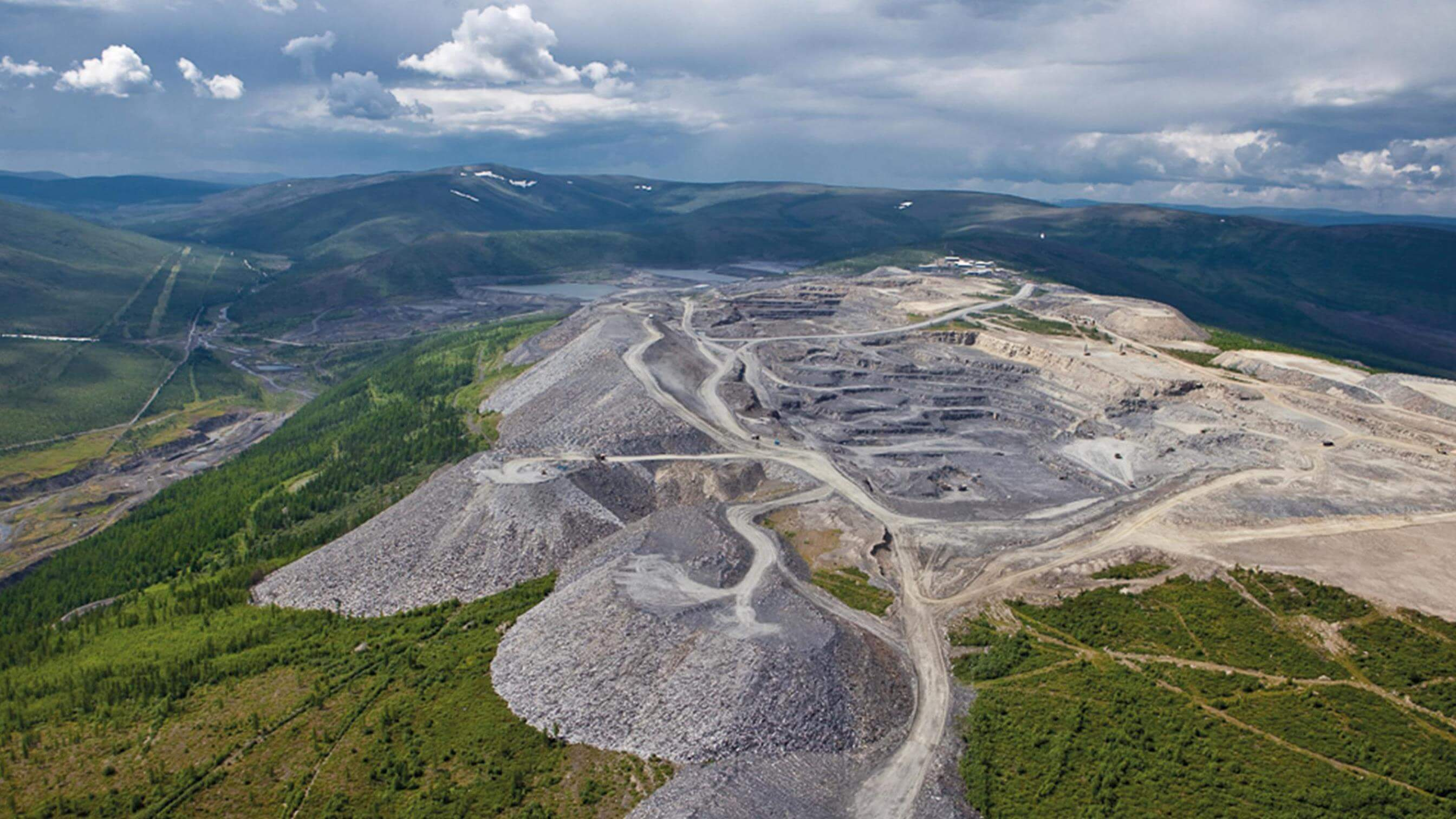 Aerial view of Russian gold mine