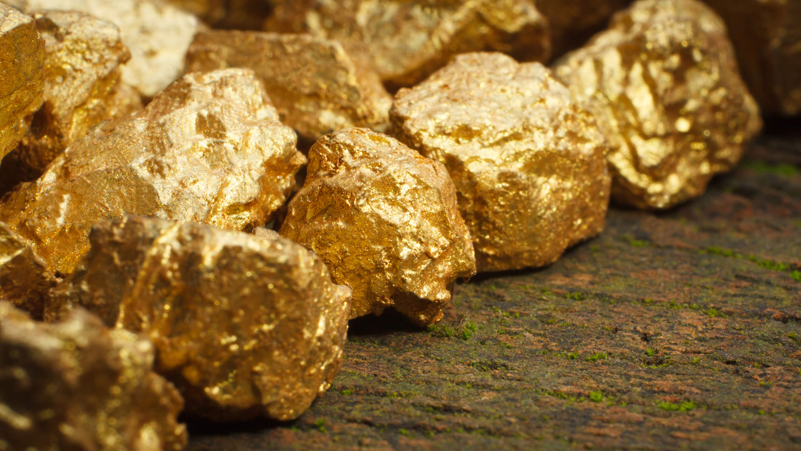 Pile of large gold nuggets