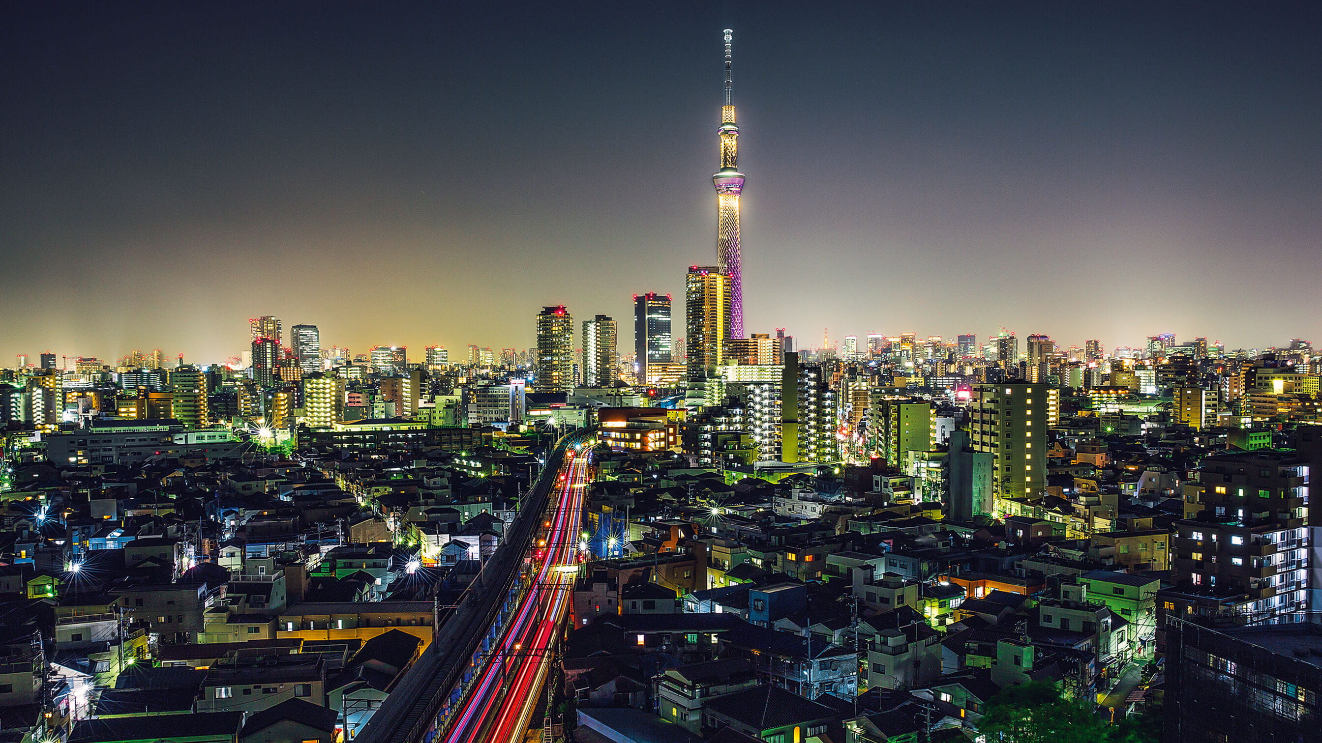 Japan cityscape at night