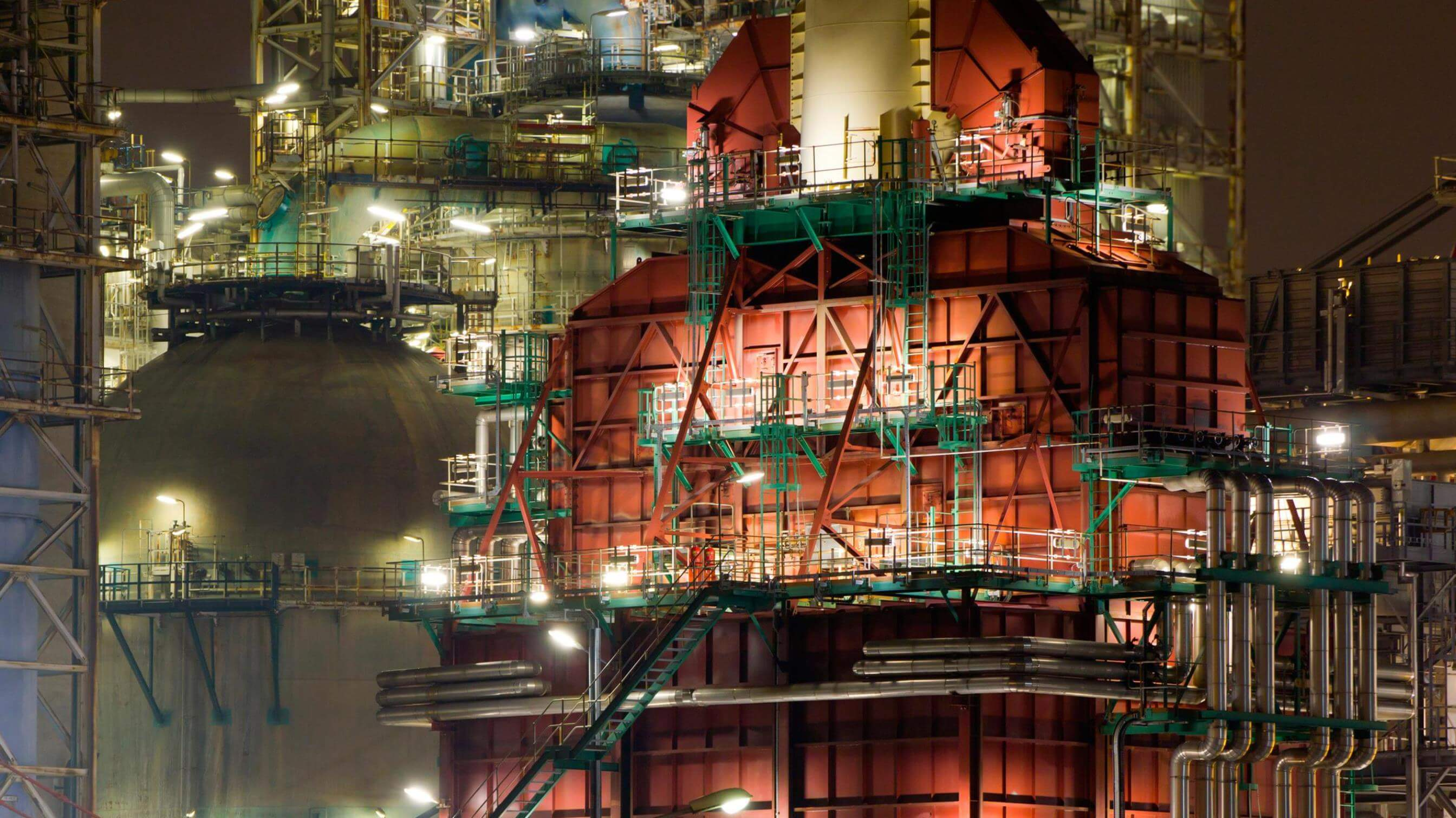 Coker unit at a refinery at night