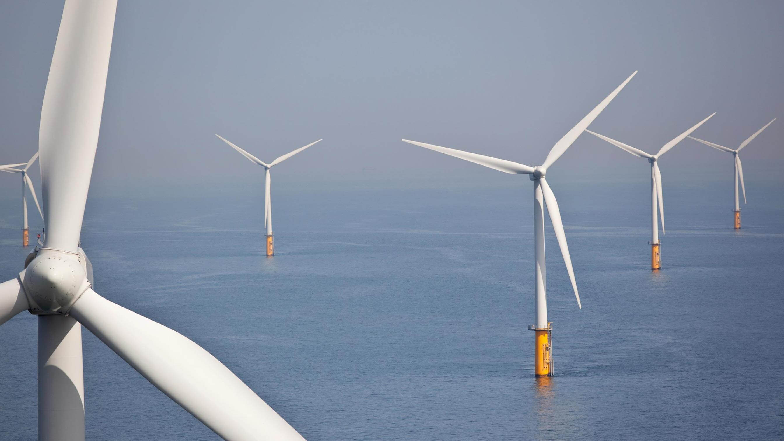 Turbines at an offshore windfarm