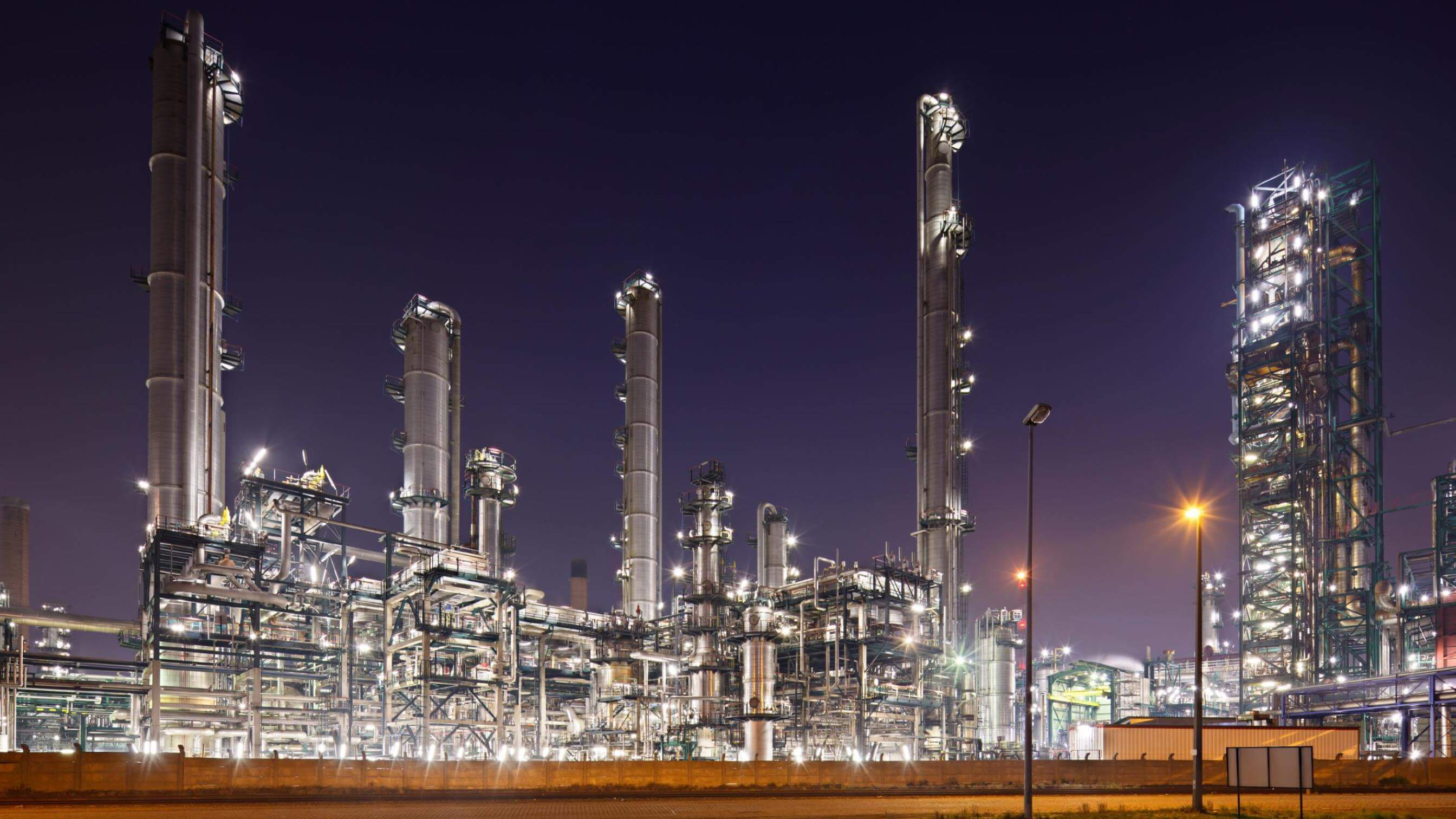 USA petrochemical refinery at night
