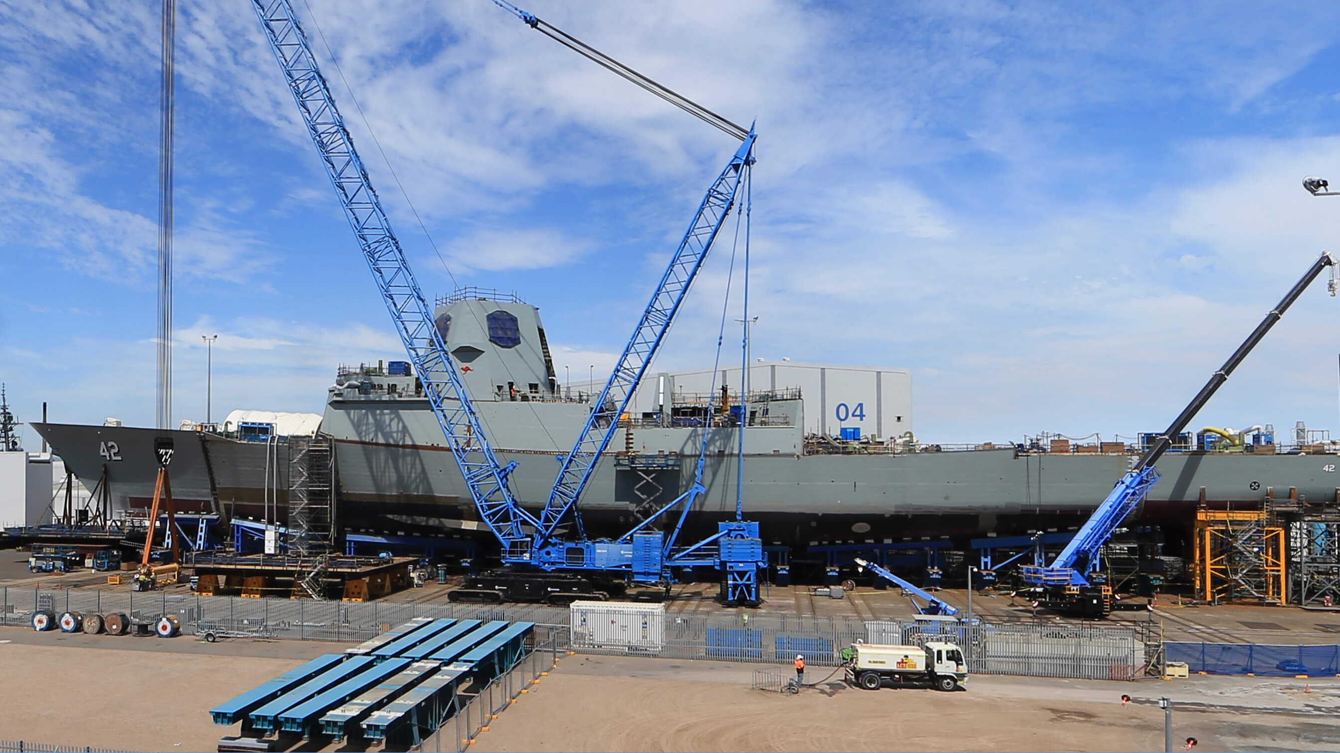 Cooling two major warships during construction