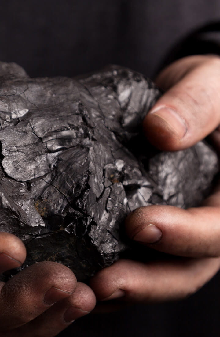 coal held in hands