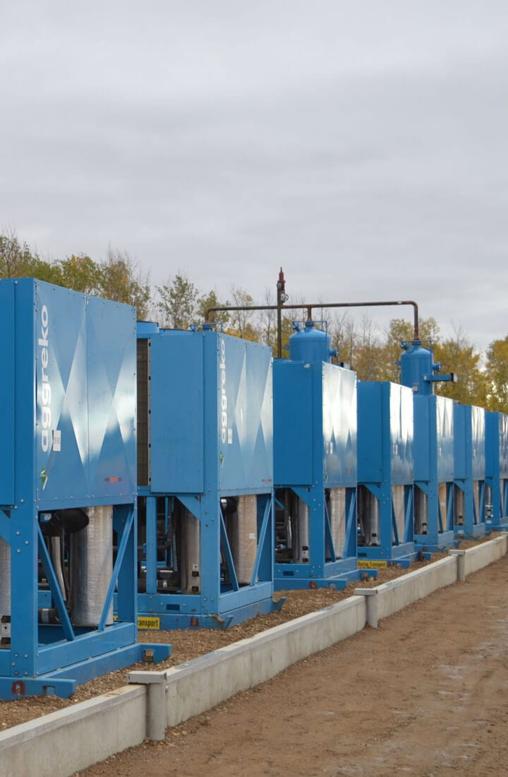 row of aggreko chillers