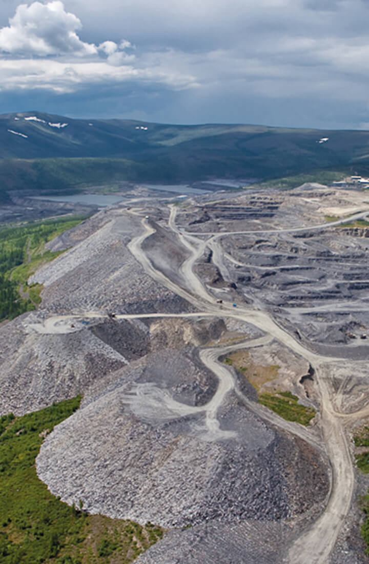 birds eye view of gold mine