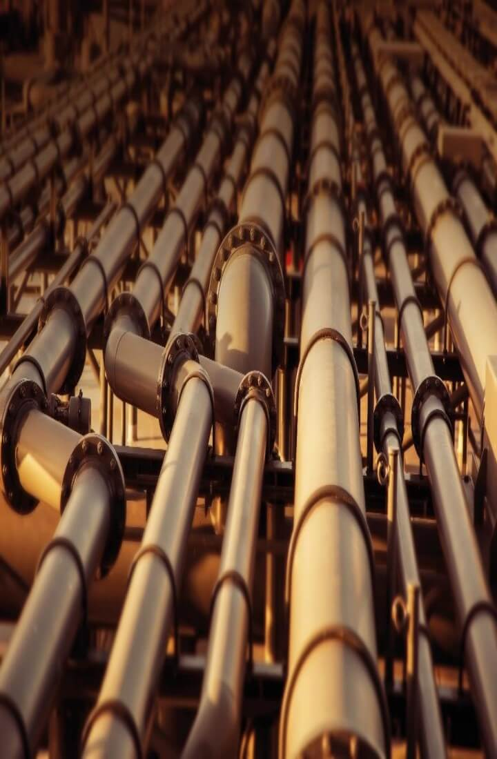 Close up of pipes at a refinery