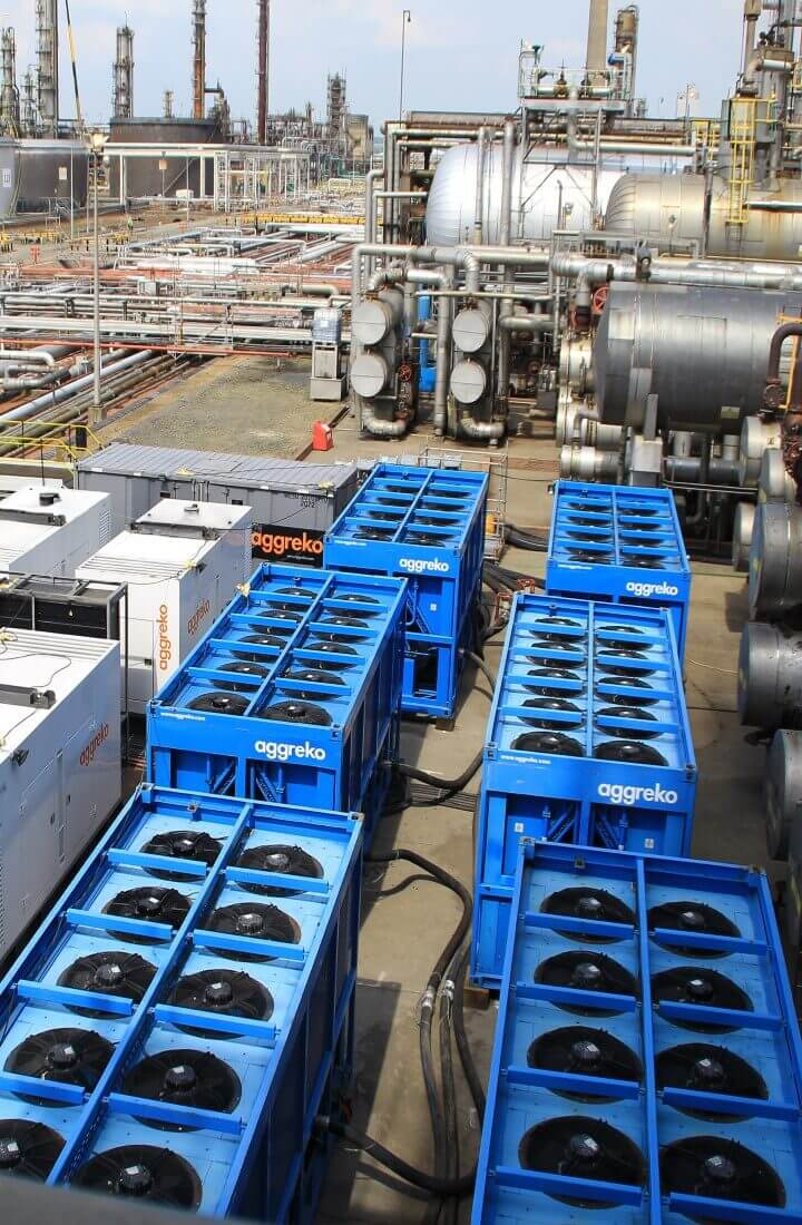 Row of cooling equipment alongside power generators
