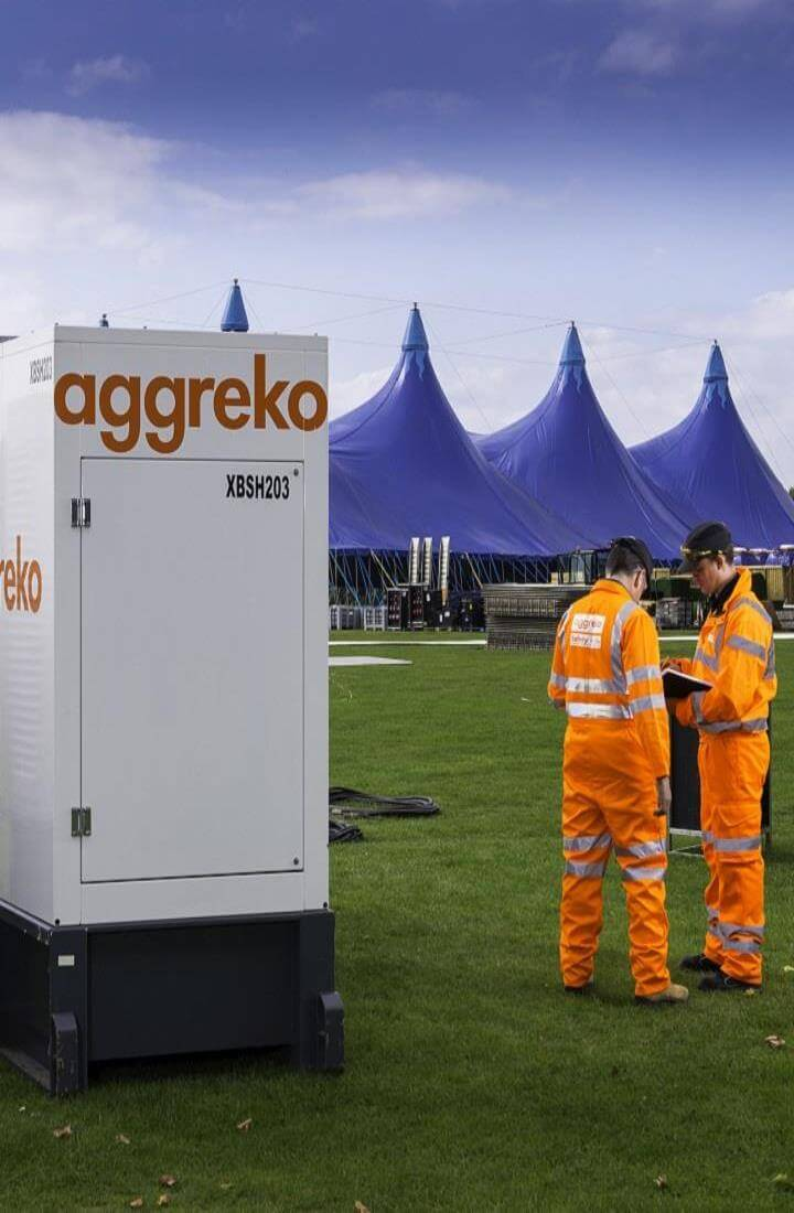 Generator and engineers at festival