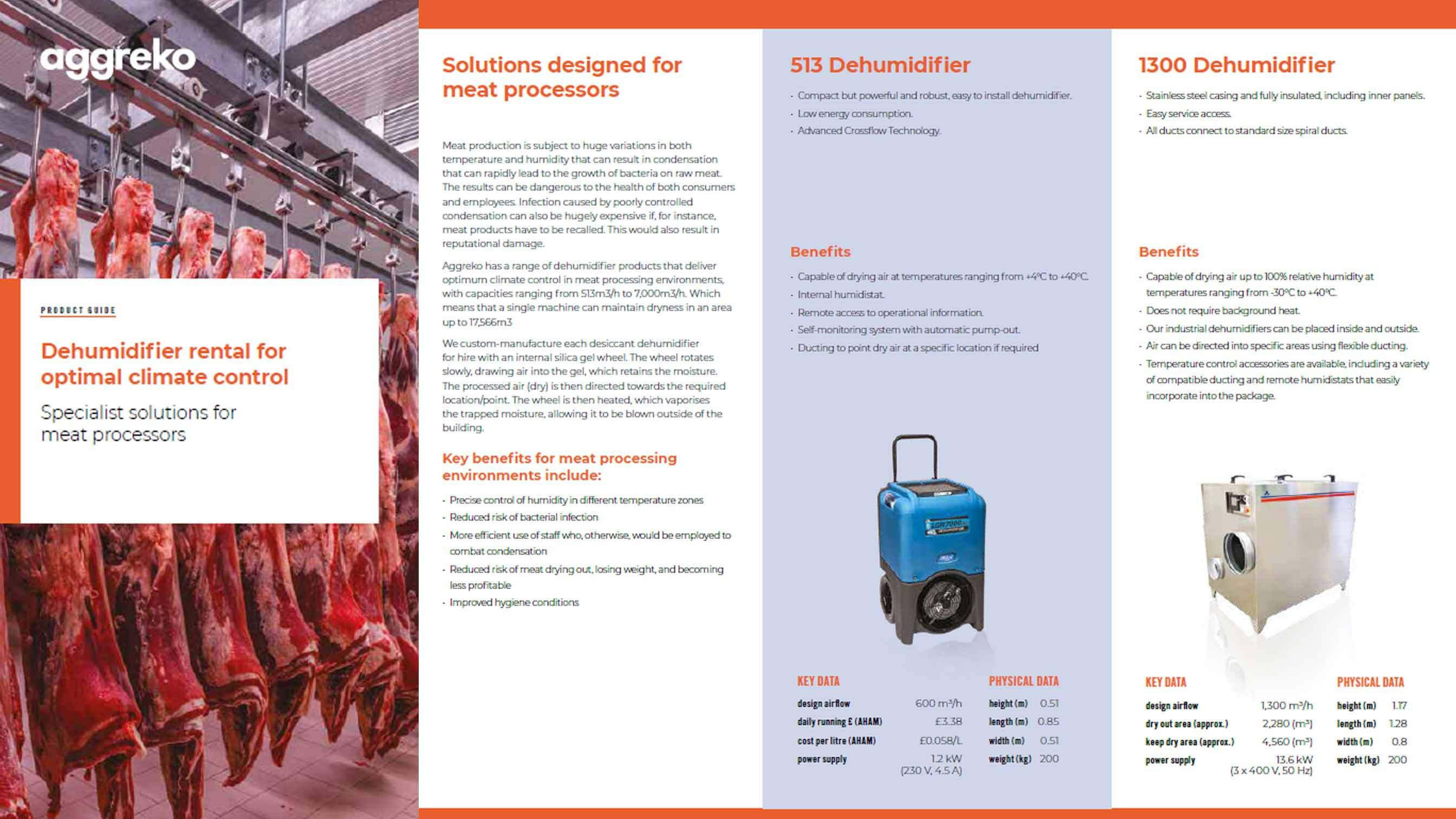 Dehumidifier product guide - meat processing