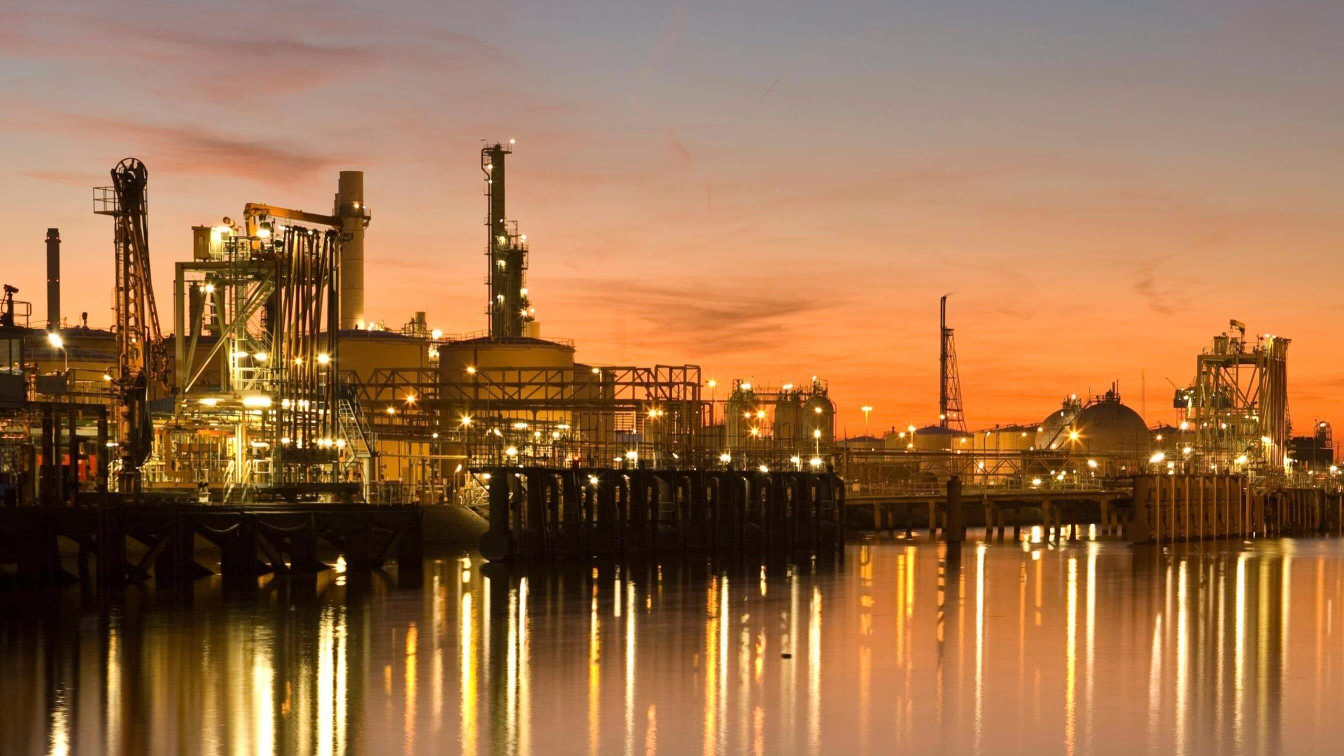 refinery plant sunset