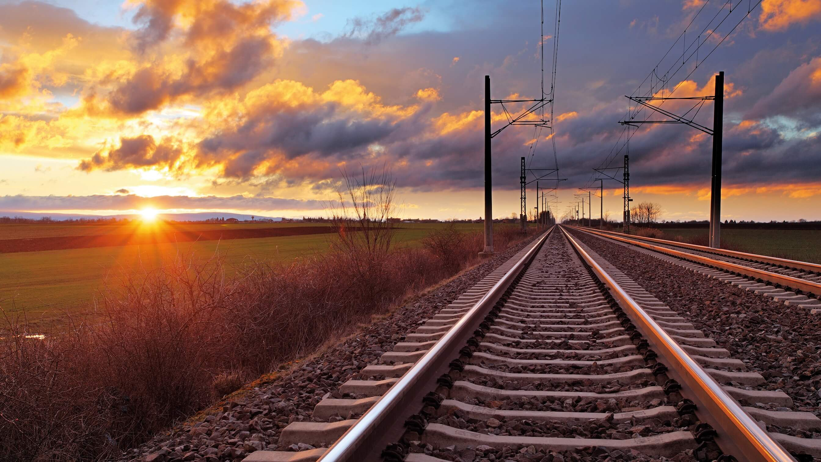 Railway lines at Sunset