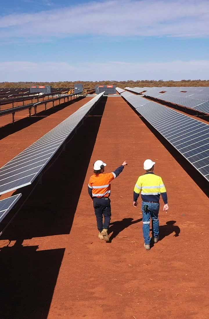 Two workers walking amongst solar panels