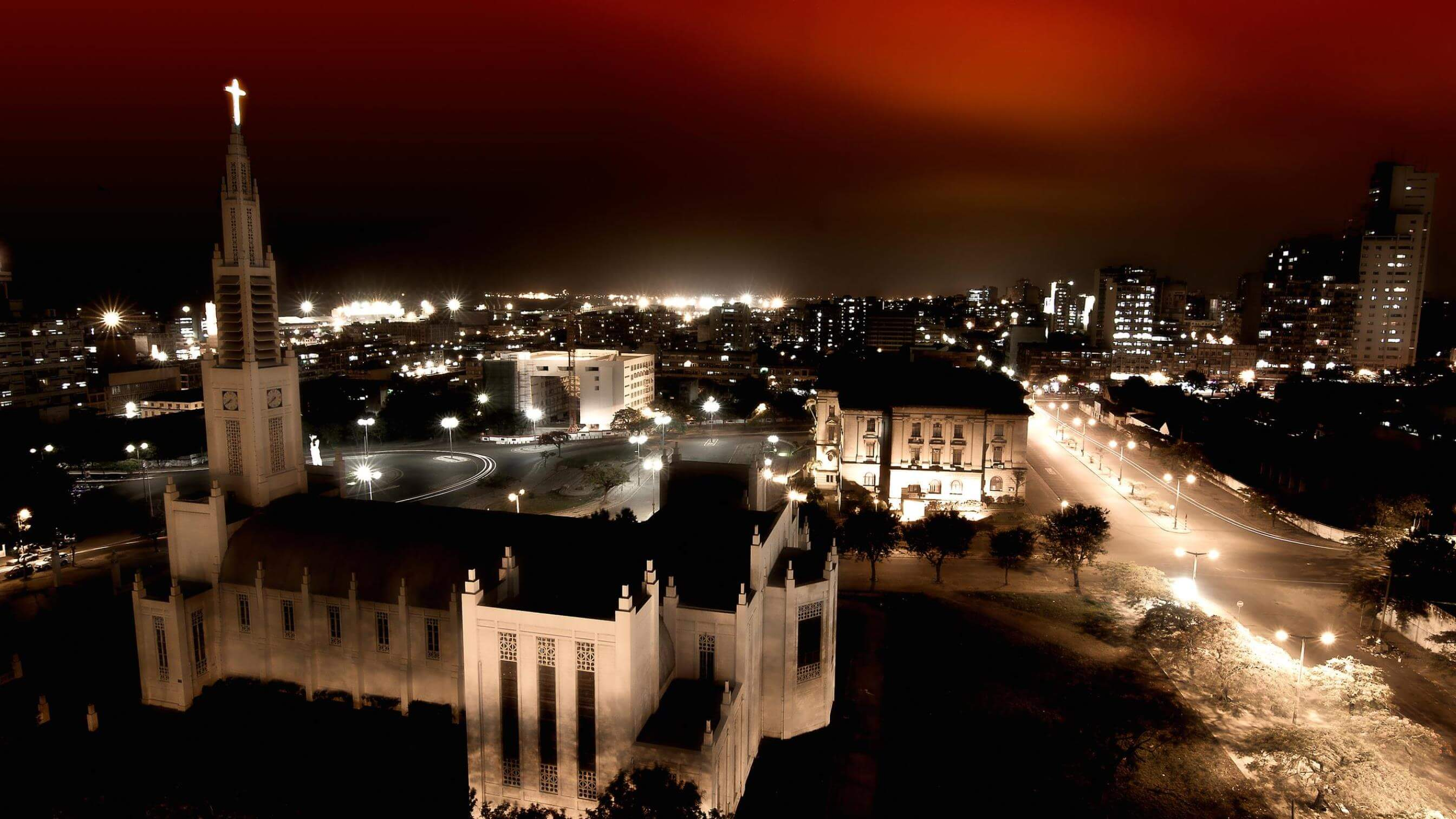 Mozambique capital at night