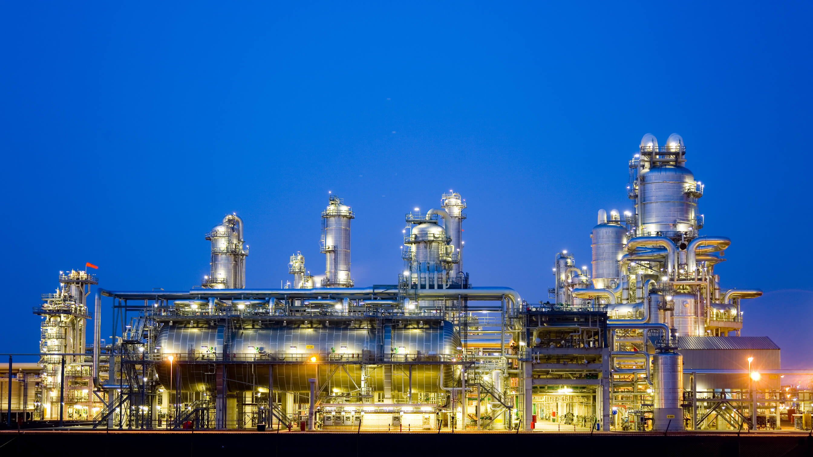 Petrochemical refinery lit up at night