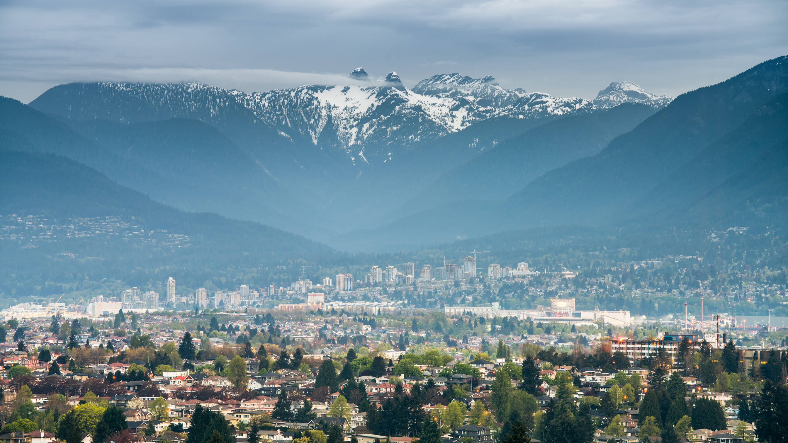 View across Vancouver to the mountains