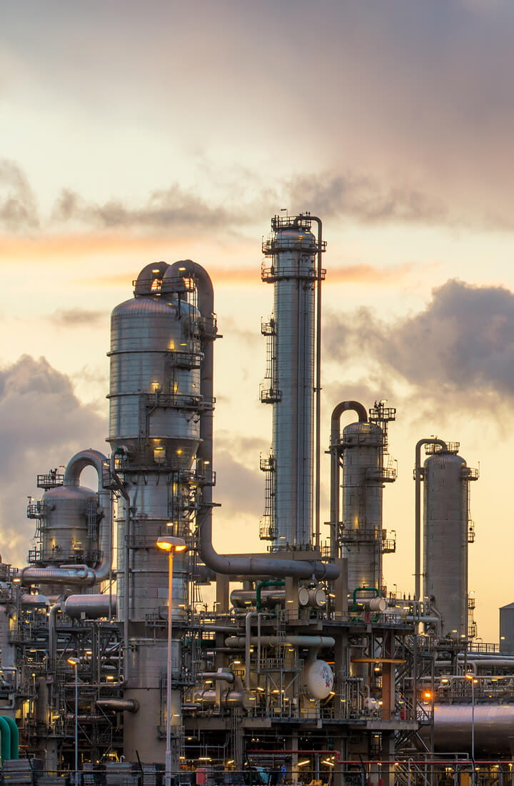 refinery chemical plant at sunrise