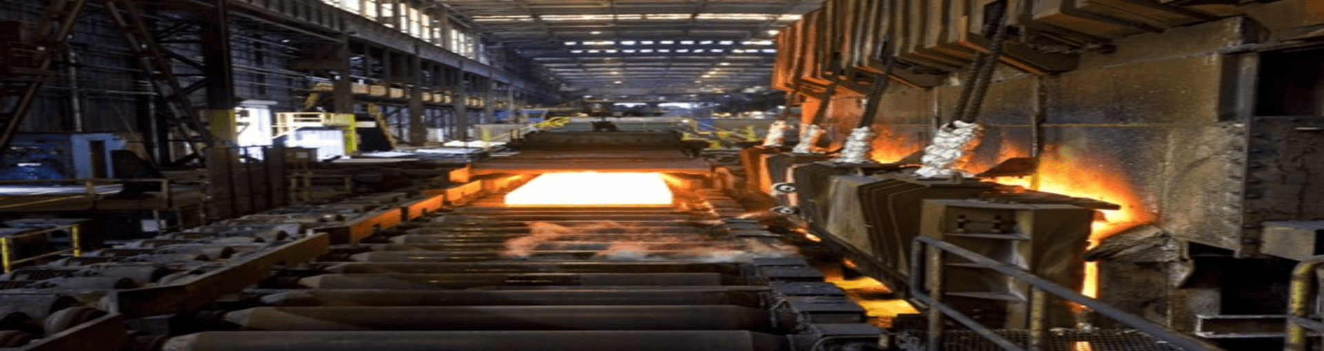 Steel plant interior with molten steel