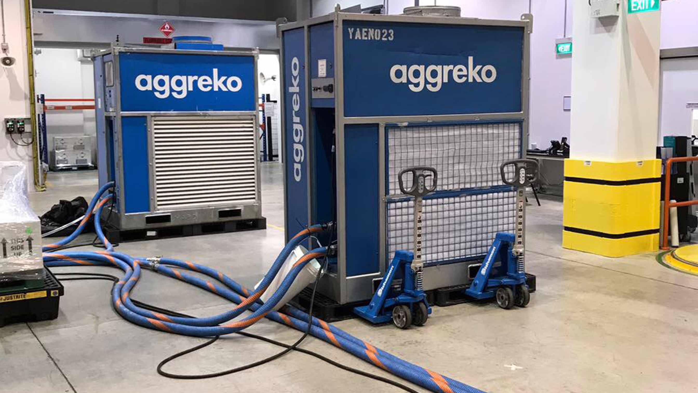 Aggreko equipment hooked up to cables