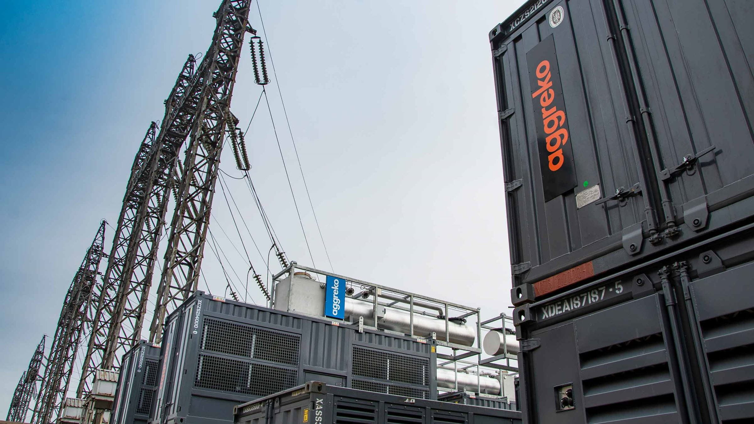 Aggreko equipment and power lines